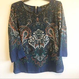 Rose & Olive   Women's paisley 3/4 sleeve blouse